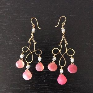 Gold & pink stone hanging earrings